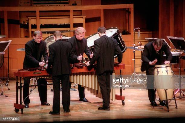 """Kroumata, from Sweden, performing at Alice Tully Hall on Saturday night, January 19, 2002.This image:Kroumata performing Sandstrom's """"Drums."""""""