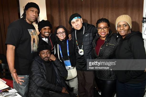 KRSOne william apldeap and Taboo attend the A Dinner For Change celebrating 'Masters of The Sun' at KIA Supper Suite at Mustang on January 19 2018 in...