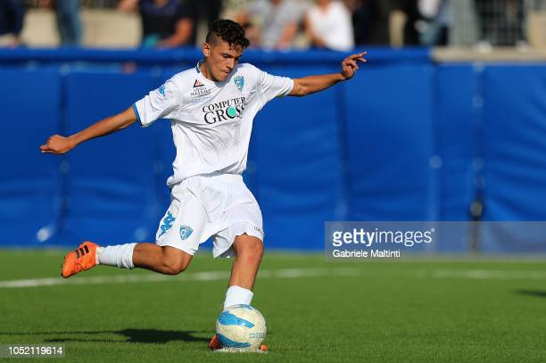 Krstjan Asslani of Empoli FC U17 scores the goal during the match between Empoli FC U17 and ACF Fiorentina U17 on October 14 2018 in Empoli Italy