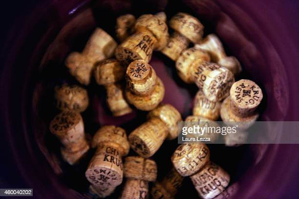 Krug champagne caps are seen during the tasting before the winter auction sessions of Fine and Rare Wines auction on December 5 2014 in Florence...