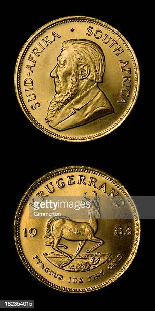 krugerrand gold coin - south african currency stock photos and pictures