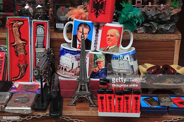 Kruja, Kruje, Albania, Street to the museum with the old market and souvenir shops, cups with the image of Enver Hoxha.
