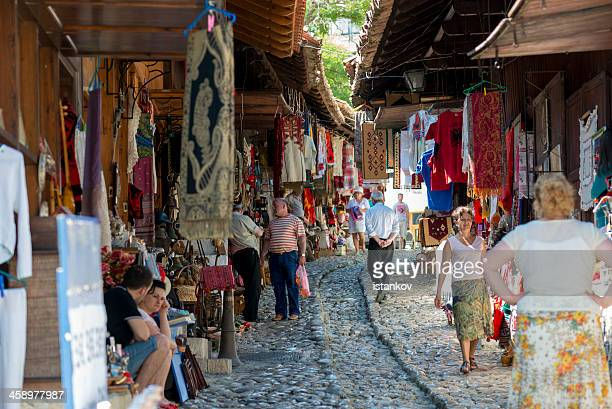 kruje, albania - traditional market street - albania stock pictures, royalty-free photos & images