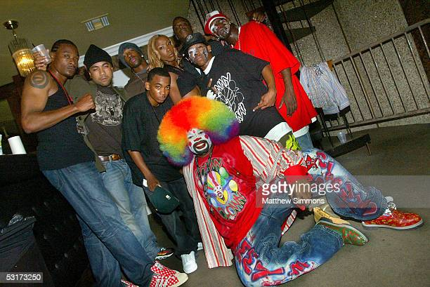 """Krump dancers from the documentary """"Rize"""" pose with Tommy The Clown backstage at the launch party for the """"Rock This Way Tour"""" hosted by Kimberly..."""