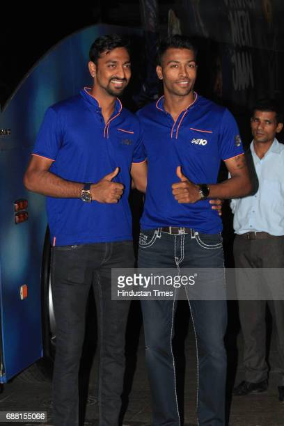 Krunal Pandya and Hardik Pandya arrive to attend the party organised to celebrate Mumbai Indians' victory in the Indian Premier League 2017 on May 22...