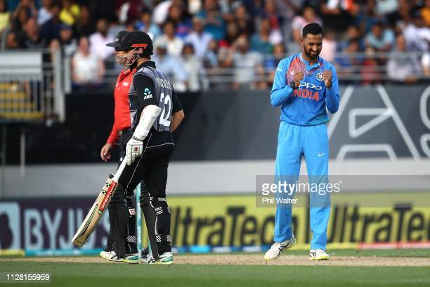 Krunal Pandya of India celebrates his wicket of Colin Munro of New Zealand during game two of the International T20 Series between the New Zealand...