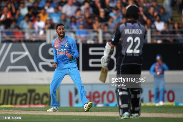 Krunal Pandya of India celebrates his wicket of Kane Williamson of New Zealand during game two of the International T20 Series between the New...