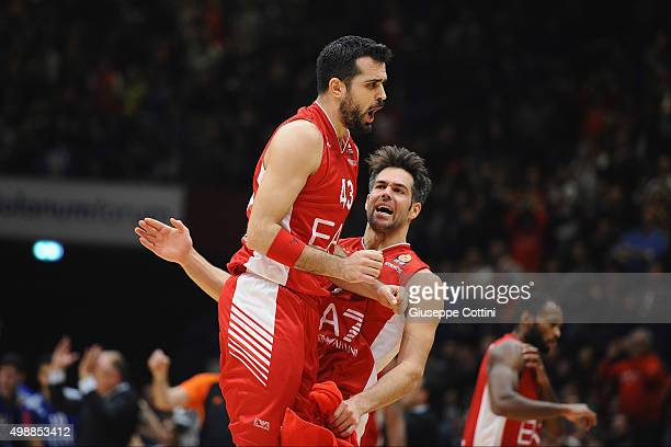 Krunoslav Simon #43 of EA7 Emporio Armani Milan and Bruno Cerella #7 of EA7 Emporio Armani Milan celebrates during the Turkish Airlines Euroleague...