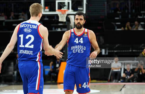 Krunoslav Simon, #44 of Anadolu Efes Istanbul and Brock Motum, #12 of Anadolu Efes Istanbul in action during the 2018/2019 Turkish Airlines...