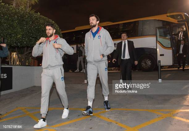 Krunoslav Simon #44 of Anadolu Efes Istanbul and Sertac Sanli #15 arriving to the arena prior the 2018/2019 Turkish Airlines EuroLeague Regular...