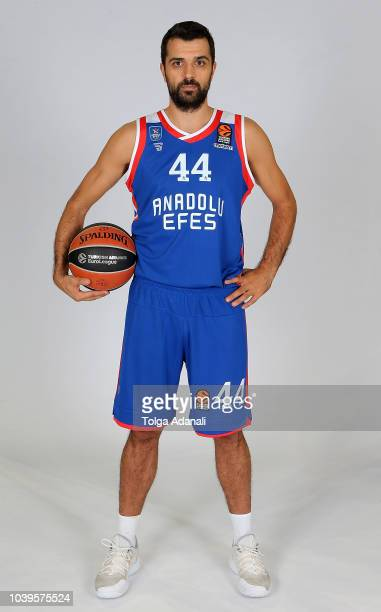 Krunoslav Simon #44 of Anadolu Efes Istanbul poses during the Anadolu Efes Istanbul 2018/2019 Turkish Airlines EuroLeague Media Day at Sinan Erdem...