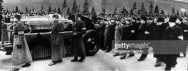 Kruscev Beria Ciu En Lai Malenkov Voroscilov and other Soviet authorities following the coffin of Stalin General Secretary of the Communist Party of...