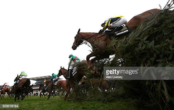 Kruzhlinin ridden by Richard Johnson clears The Chair fence during the Crabbie's Grand National Steeple Chase at Aintree Racecourse on April 9 2016...