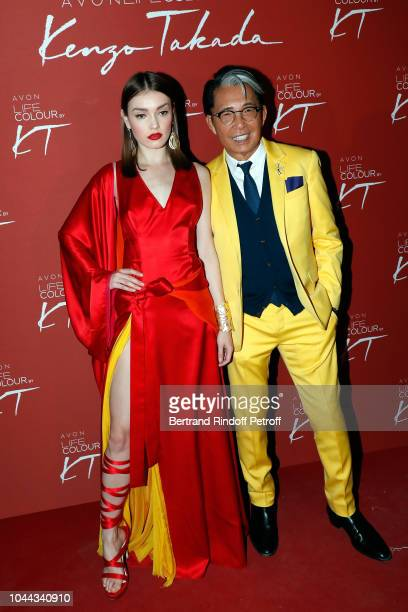 Krysia Ziolek and Kenzo Takada attend the Avon Life Colour Party By Kenzo Takada as part of the Paris Fashion Week Womenswear Spring/Summer 2019 on...