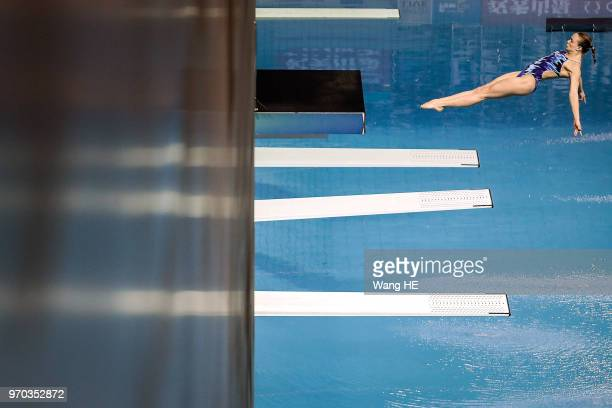 Krysta Palmer of the United States competes in the Women's 3m Springboard final during the FINA Diving World Cup 2018 at the Wuhan Sports Center on...