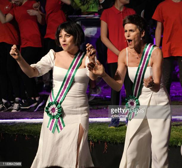 Krysta Rodriguez and Jenn Colella perform during the final number at the Public Theater Annual Gala Women Of The Public at Delacorte Theater on June...