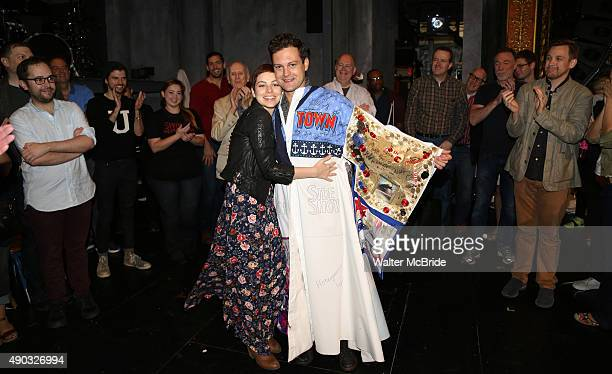 Krysta Rodriguez and Van Hughes during the Actors' Equity 'Spring Awakening Gypsy Robe Ceremony honoring Van Hughes at the Brooks Atkinson Theatre on...