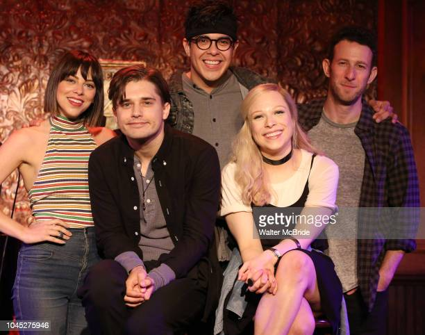 Krysta Rodriguez Andy Mientus George Salazar Lauren Marcus and Nick Blaemire from the cast of 'The Jonathan Larson Project' during the press preview...