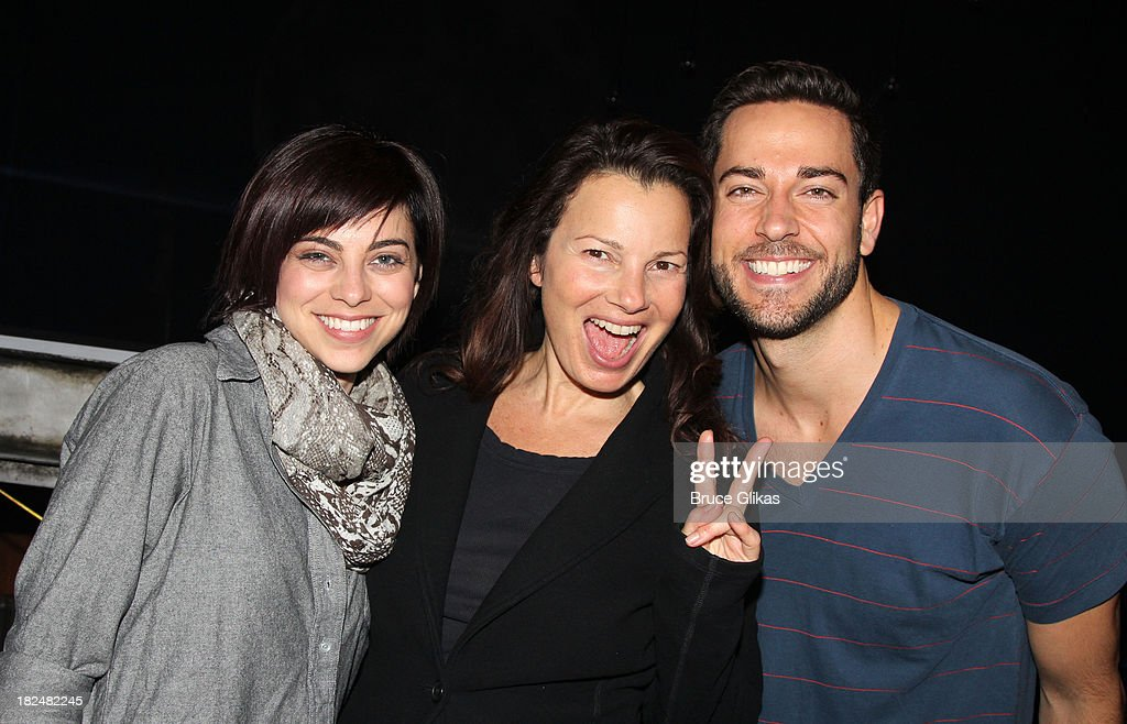 Krysta Rodriguez, Fran Drescher and Zachary Levi pose backstage at 'First Date' on Broadway at The Lyceum Theater on September 29, 2013 in New York City.