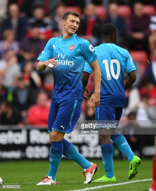 Krystain Bielik celebrates scoring Arsenal's 1st goal during the match between Leyton Orient and Arsenal U23 at Brisbane Road on August 1 2017 in...