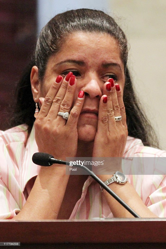 Krystal Holloway, also known as River Cruz, reacts when questioned about transcripts from her police statements during the Casey Anthony murder trial at the Orange County Courthouse on June 30, 2011 in Orlando, Florida. Holloway claims to have had an affair with George Anthony, Casey's father. Anthony's defense attorneys argued that she didn't kill her two-year-old daughter Caylee, but that she accidentally drowned.