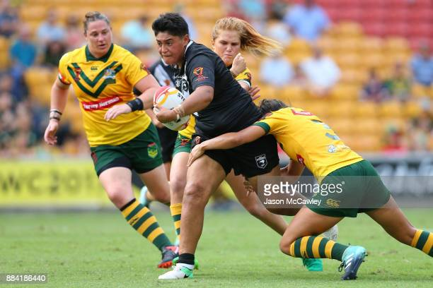 Krystal Murray of the Ferns is tackled during the 2017 Rugby League Women's World Cup Final between Australia and New Zealand at Suncorp Stadium on...