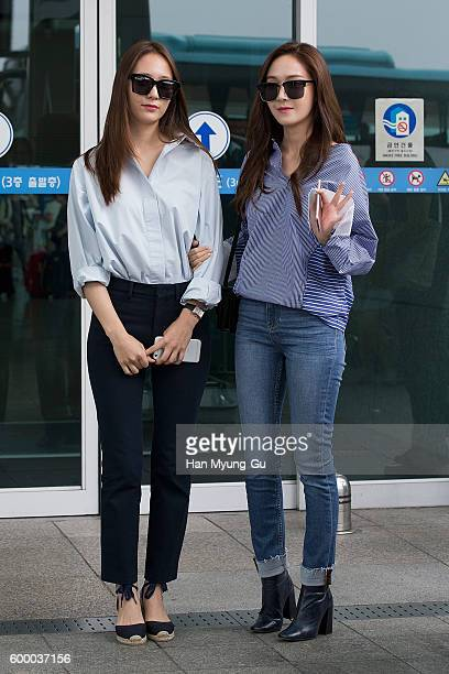 Krystal of girl group f and former member of Girl's Generation Jessica are seen on departure at Incheon International Airport on September 7 2016 in...