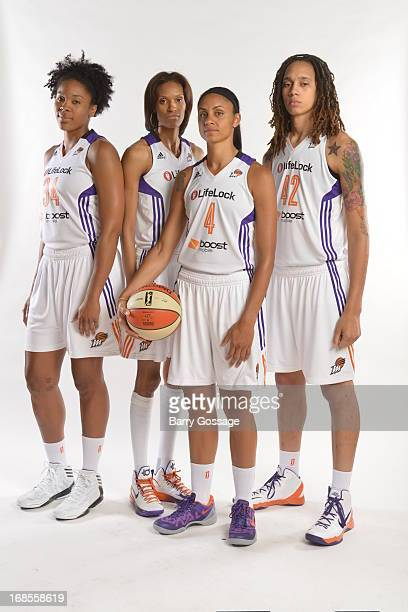Krystal Thomas DeWanna Bonner Candice Dupree and Brittney Griner pose for a photo during 2013 Phoenix Mercury Media Day on May 10 2013 at US Airways...