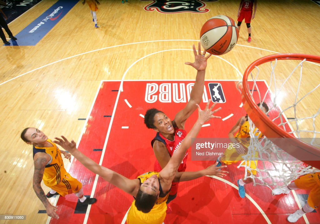 Krystal Thomas #34 of the Washington Mystics shoots the ball against the Indiana Fever on August 12, 2017 at the Verizon Center in Washington, DC.