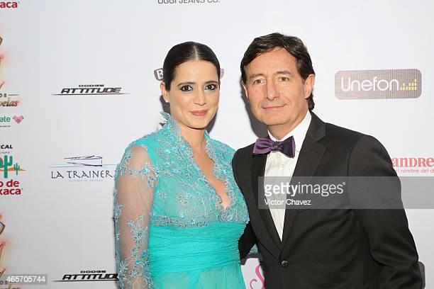 Krystell Padilla and Roberto Gomez Fernandez arrive at Premios TV y Novelas 2015 at Televisa San Angel on March 9 2015 in Mexico City Mexico