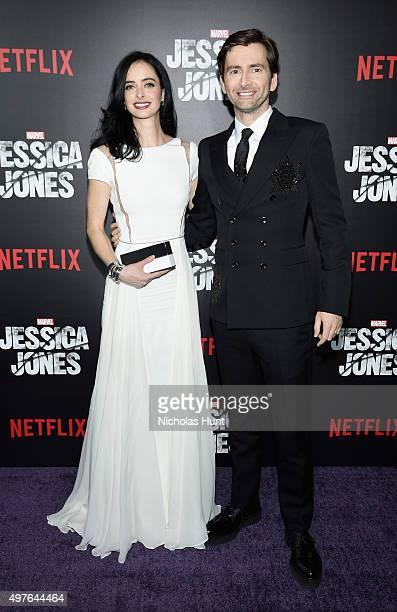 Krysten Ritter and David Tennant attend the Jessica Jones Series Premiere at Regal EWalk on November 17 2015 in New York City