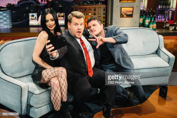 Krysten Ritter and Josh Hutcherson chat with James Corden during 'The Late Late Show with James Corden' Monday November 20 2017 On The CBS Television...