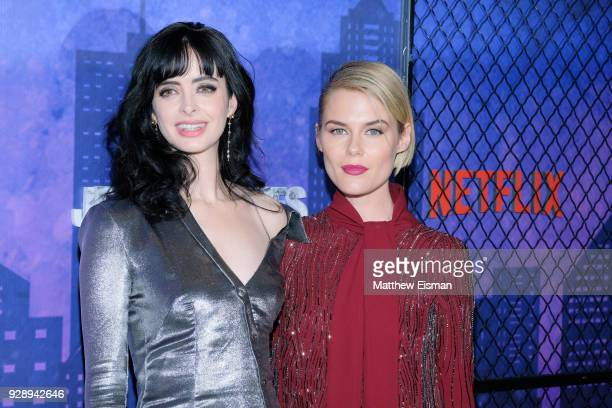 Krysten Ritter and Rachael Taylor attend the 'Jessica Jones' Season 2 New York Premiere at AMC Loews Lincoln Square on March 7 2018 in New York City
