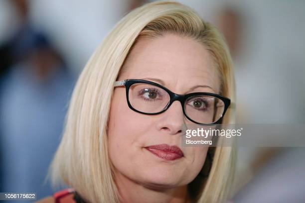 Krysten Sinema Democratic US Senate candidate from Arizona looks on during a campaign event in Phoenix Arizona US on Thursday Nov 1 2018 In Arizona...
