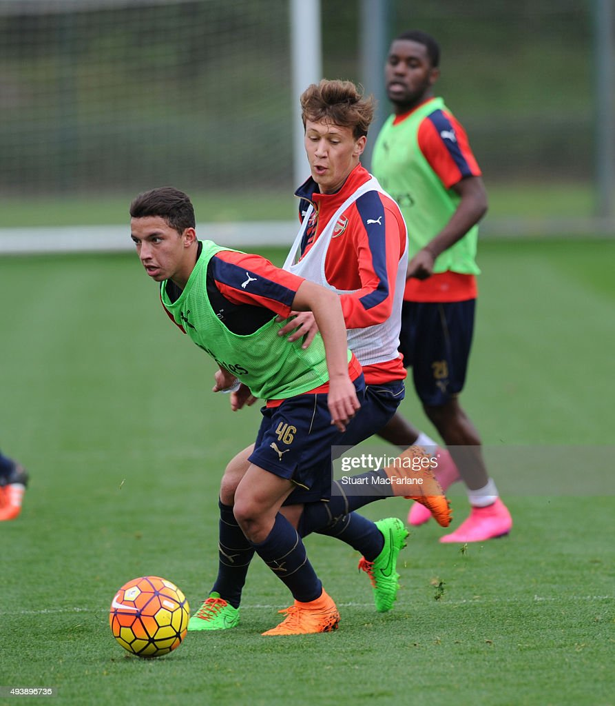Krystian Bielik and Ismael Bennacer of Arsenal during a training session at London Colney on October 23, 2015 in St Albans, England.
