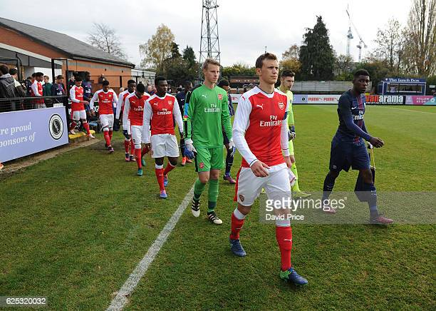 Krystian Bielik of Arsenal before the UEFA Youth League match between Arsenal and Paris Saint Germain at Meadow Park on November 23 2016 in...