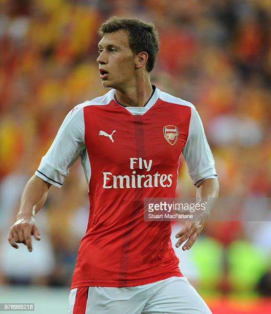 Krystian Bielik of Arsenal during a pre season friendly between RC Lens and Arsenal at Stade BollaertDelelis on July 22 2016 in Lens