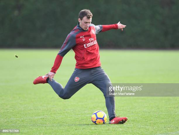 Krystian Bielik of Arsenal during a training session at London Colney on December 30 2017 in St Albans England