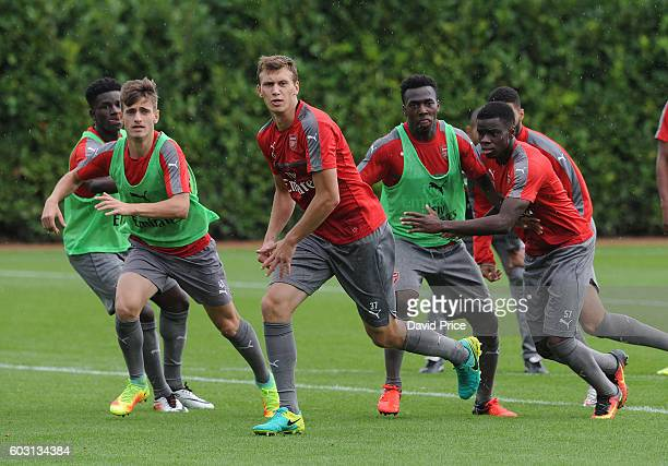 Krystian Bielik of Arsenal during the Arsenal UEFA Youth League Training Session at London Colney on September 12 2016 in St Albans England