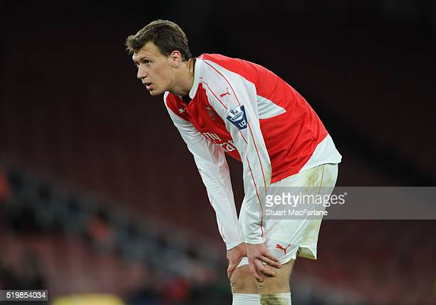 Krystian Bielik of Arsenal during the Barclays Premier League match between Arsenal and Newcastle United at Emirates Stadium on April 8 2016 in...