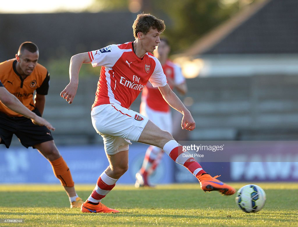 Krystian Bielik of Arsenal during the match between Arsenal U21s and Wolverhampton Wanderers U21s at Meadow Park on May 18, 2015 in Borehamwood, England.
