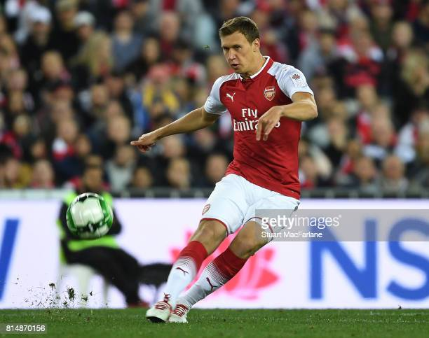 Krystian Bielik of Arsenal during the match between the Western Sydney Wanderers and Arsenal FC at ANZ Stadium on July 15 2017 in Sydney Australia