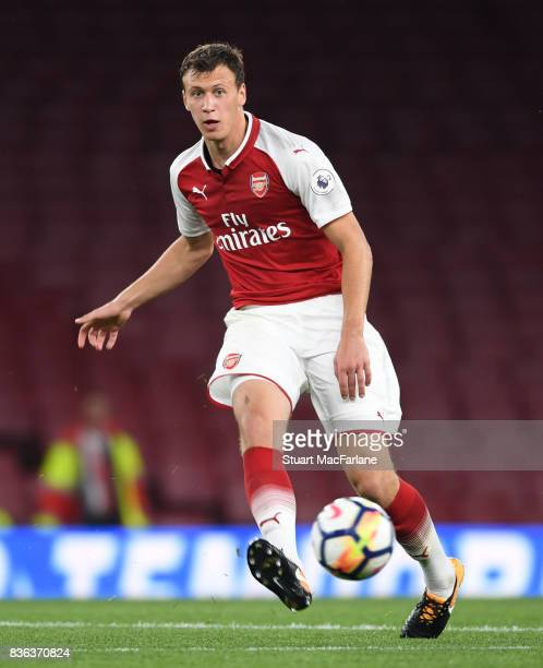Krystian Bielik of Arsenal during the Premier League 2 match between Arsenal and Manchester City at Emirates Stadium on August 21 2017 in London...