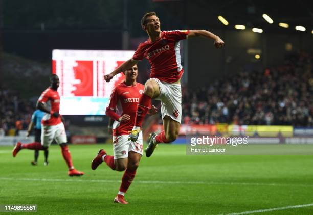 Krystian Bielik of Charlton Athletic celebrates after scoring his team's first goal with Albie Morgan during the Sky Bet League One PlayOff Second...