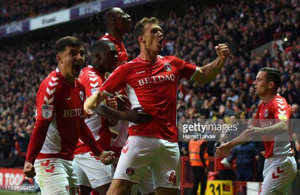Krystian Bielik of Charlton Athletic celebrates after scoring his team's first goal team mates during the Sky Bet League One PlayOff Second Leg match...
