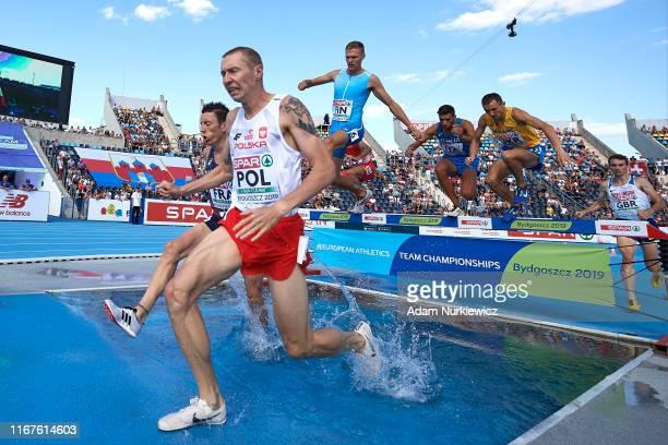 Krystian Zalewski from Poland competes in men's 3000 meters steeplechase while European Athletics Team Championships Super League Bydgoszcz 2019 -...