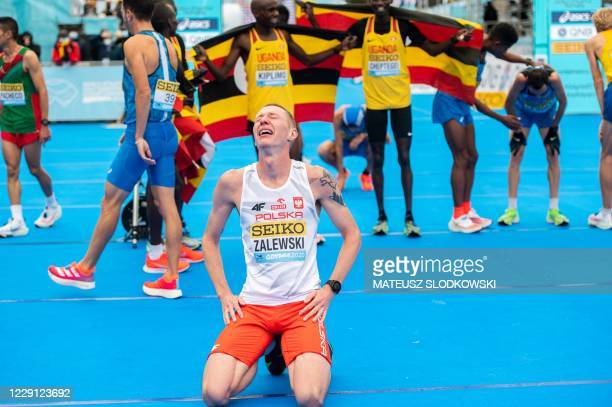 Krystian Zalewski of Poland reacts after setting a national record in the men's race of the 2020 IAAF World Half Marathon Championships in Gdynia...