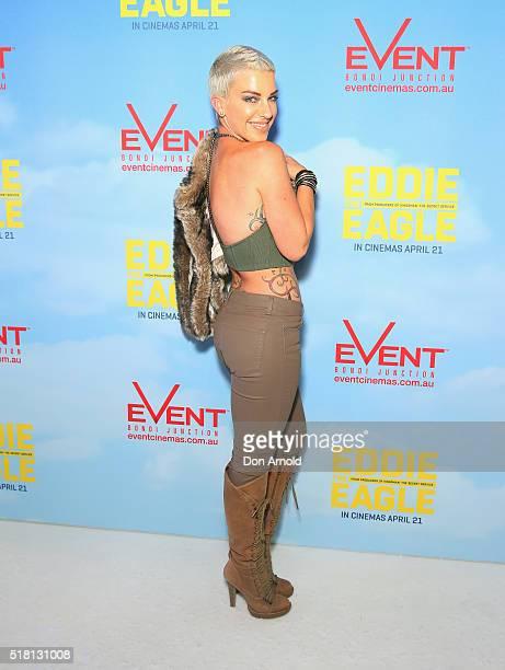 Krystie Steve arrives ahead of the Eddie The Eagle screening at Event Cinemas Bondi Junction on March 30 2016 in Sydney Australia