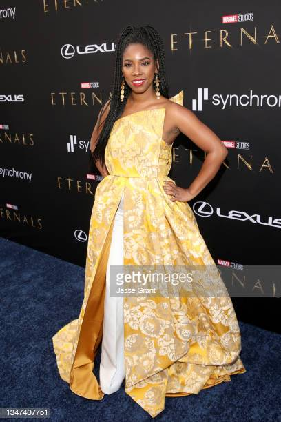 Krystina Arielle arrives at the Premiere of Marvel Studios' Eternals on October 18, 2021 in Hollywood, California.