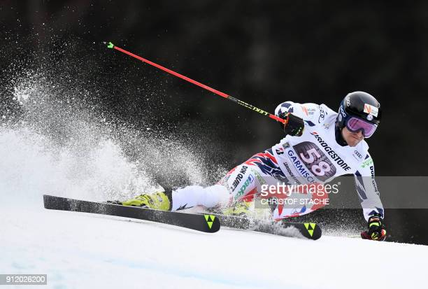 Krystof Kryzl from Czech Republic competes during the men's Giant Slalom first run at the FIS Alpine Skiing World Cup in GarmischPartenkirchen...